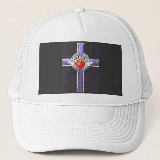 Purple Cross Heart Baseball Trucker Hat Customized