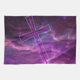 Purple Cross in Purple skies. Kitchen Towel
