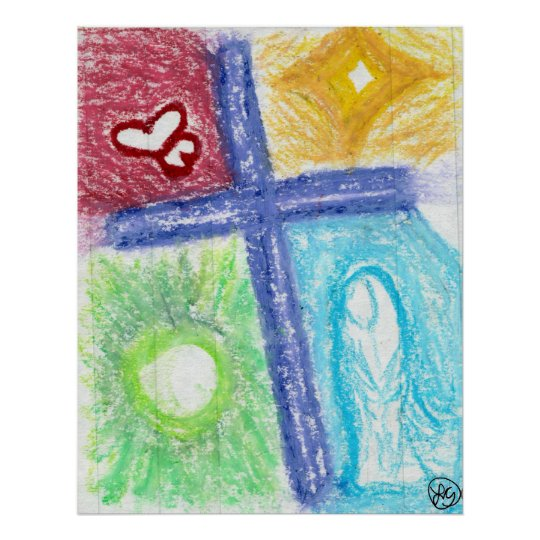Purple Cross of Love Poster