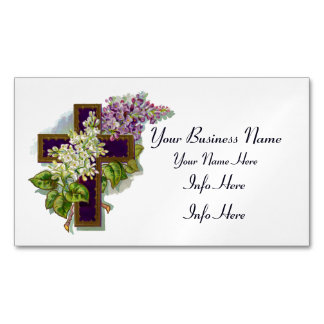Purple Cross With Flowers Business Card Magnet