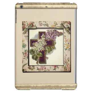 Purple Cross With Flowers iPad Air Cover