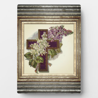Purple Cross With Flowers Plaque