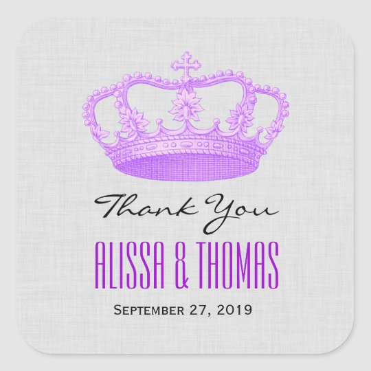 PURPLE Crown Thank You Bride Groom Wedding V03 Square Sticker