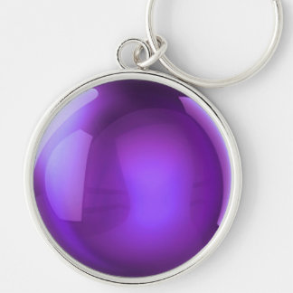 Purple Crystal Ball Silver-Colored Round Keychain