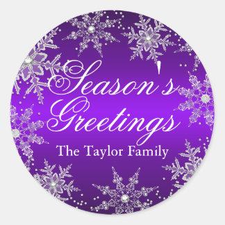 Purple Crystal Snowflake Christmas Sticker