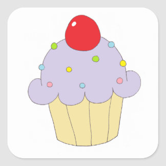 Purple Cupcake Square Sticker