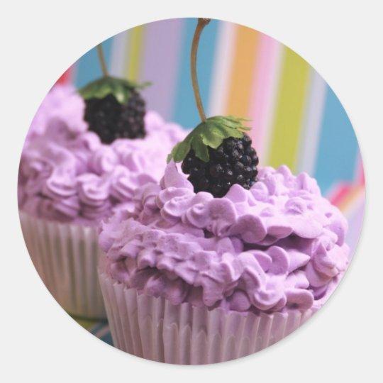 Purple Cupcakes Classic Round Sticker
