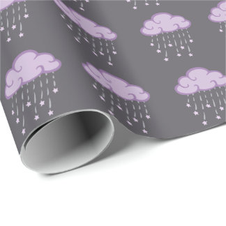 Purple Curls Rain Cloud With Falling Stars