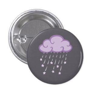 Purple Curls Rain Cloud With Falling Stars 1 Inch Round Button