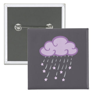 Purple Curls Rain Cloud With Falling Stars 2 Inch Square Button