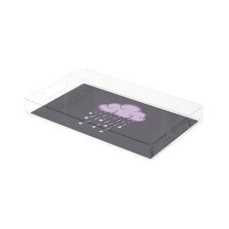 Purple Curls Rain Cloud With Falling Stars Acrylic Tray