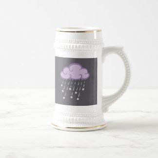Purple Curls Rain Cloud With Falling Stars Beer Stein