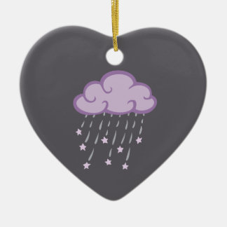Purple Curls Rain Cloud With Falling Stars Ceramic Heart Ornament