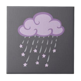 Purple Curls Rain Cloud With Falling Stars Ceramic Tiles