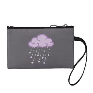 Purple Curls Rain Cloud With Falling Stars Coin Wallet