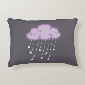 Purple Curls Rain Cloud With Falling Stars Decorative Pillow