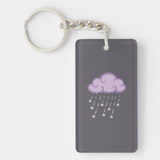 Purple Curls Rain Cloud With Falling Stars Double-Sided Rectangular Acrylic Keychain