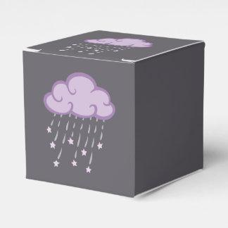 Purple Curls Rain Cloud With Falling Stars Favor Box