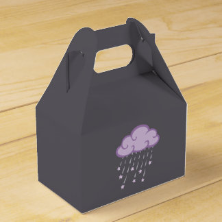 Purple Curls Rain Cloud With Falling Stars Favor Boxes
