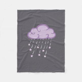 Purple Curls Rain Cloud With Falling Stars Fleece Blanket