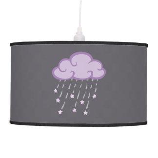 Purple Curls Rain Cloud With Falling Stars Hanging Pendant Lamp