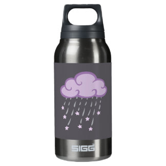 Purple Curls Rain Cloud With Falling Stars Insulated Water Bottle