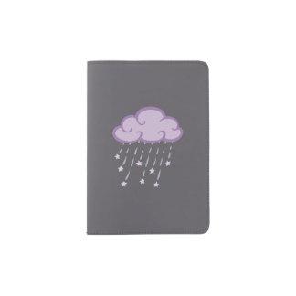 Purple Curls Rain Cloud With Falling Stars Passport Holder