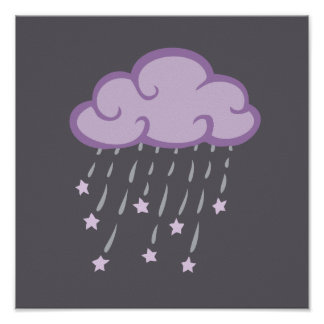 Purple Curls Rain Cloud With Falling Stars Poster