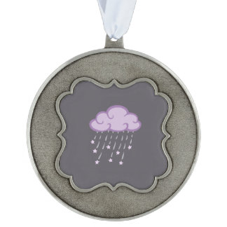Purple Curls Rain Cloud With Falling Stars Scalloped Pewter Ornament