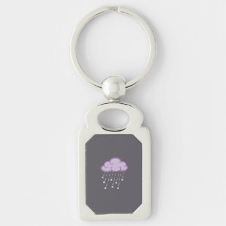 Purple Curls Rain Cloud With Falling Stars Silver-Colored Rectangle Keychain
