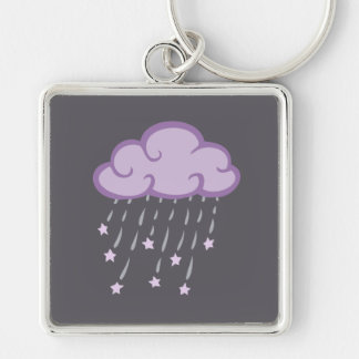Purple Curls Rain Cloud With Falling Stars Silver-Colored Square Keychain