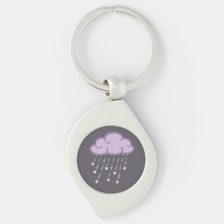 Purple Curls Rain Cloud With Falling Stars Silver-Colored Swirl Keychain