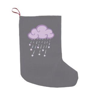 Purple Curls Rain Cloud With Falling Stars Small Christmas Stocking