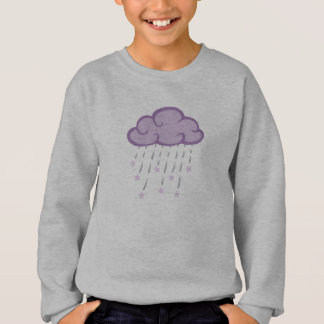 Purple Curls Rain Cloud With Falling Stars Sweatshirt