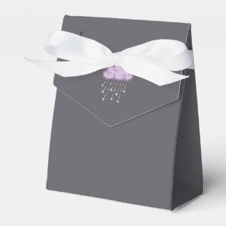 Purple Curls Rain Cloud With Falling Stars Wedding Favor Boxes