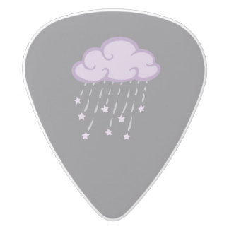 Purple Curls Rain Cloud With Falling Stars White Delrin Guitar Pick