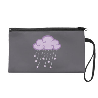 Purple Curls Rain Cloud With Falling Stars Wristlet Clutches