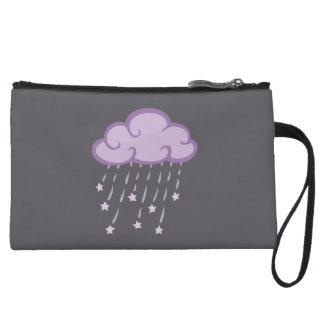Purple Curls Rain Cloud With Falling Stars Wristlet Purse