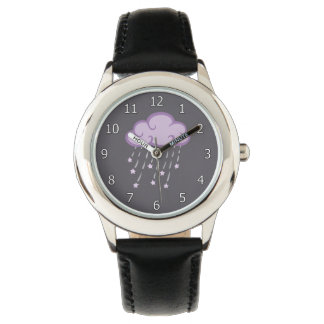 Purple Curls Rain Cloud With Falling Stars Wristwatches