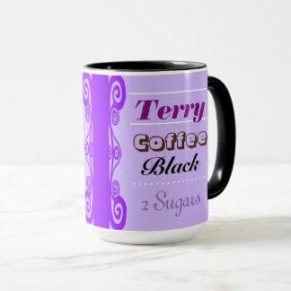 Purple Curly Border Custom Order Mug