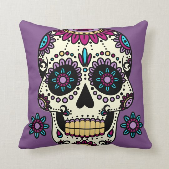 Purple cushion Skull Color Flores