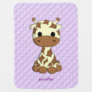 Purple cute baby giraffe cartoon baby blanket