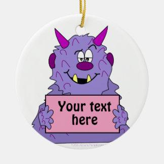 Purple Cute Monster Customizable Template Ceramic Ornament
