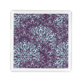 Purple cyan mandala pattern. acrylic tray