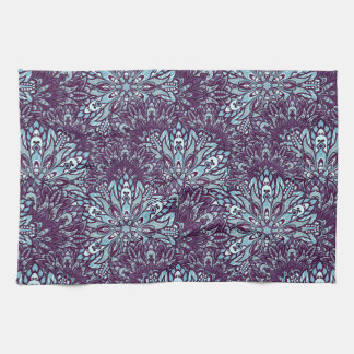Purple cyan mandala pattern. kitchen towel