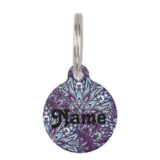 Purple cyan mandala pattern. pet tag