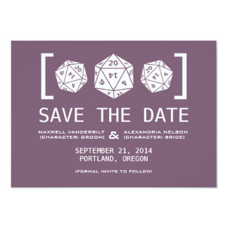 Purple D20 Dice Gamer Save the Date Invite