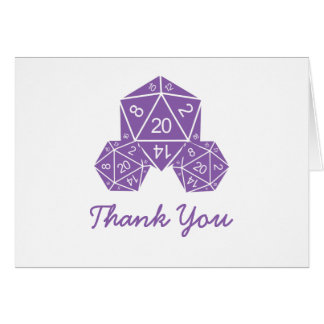 Purple D20 Dice Thank You Card