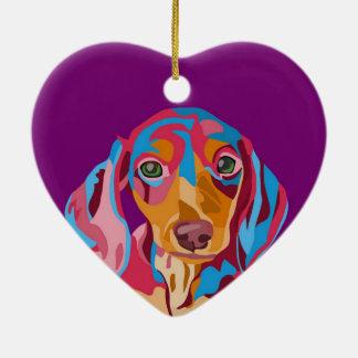 Purple Dachshund Ceramic Ornament