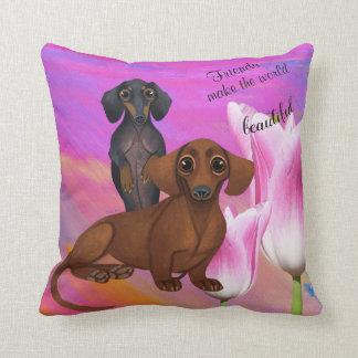 Purple Dachshund Friend Pillow